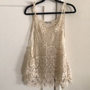 Crocheted ivory top